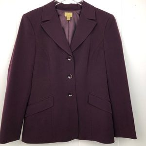 Caslon Eggplant Purple 3 Button Blazer Jacket -12P